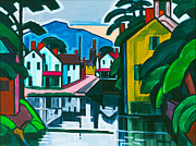 White House Digital Art Framed Prints - Old Canal Port Framed Print by Oscar Bluemner