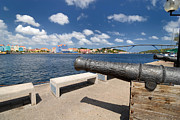 Colonial Framed Prints - Old Cannon and Queen Juliana Bridge Curacao Framed Print by Amy Cicconi