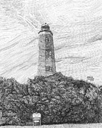 Lighthouse Drawings - Old Cape Henry Lighthouse by Stephany Elsworth