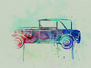 American Cars Drawings Posters - Old car watercolor Poster by Irina  March