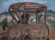 The Horse Pastels Prints - Old Carriage Print by Gitta Brewster