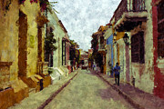 Old Towns Digital Art Prints - Old Cartagena 1 Print by Kurt Van Wagner