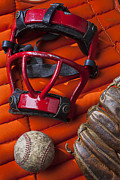 Game Photos - Old catcher mask by Garry Gay