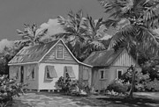 Coconuts Paintings - Old Cayman Cottages Monochrome by John Clark