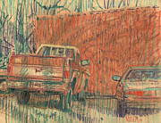 Plein Air Drawings - Old Chevy by Donald Maier