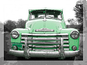 Color Green Photo Framed Prints - Old Chevy Pickup Truck Framed Print by Edward Fielding