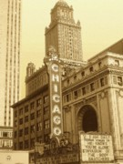 Black Top Mixed Media Acrylic Prints - Old Chicago Theater - Vintage Acrylic Print by Peter Art Prints Posters Gallery