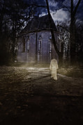 Haunted Digital Art - Old church in woods by Nikolina Petolas