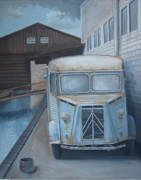 Rusty Truck Paintings - Old Citroen Van by Stuart Swartz