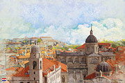 Historic Statue Painting Prints - Old City of Dubrovnik Print by Catf