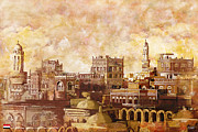 Historic Statue Painting Prints - Old city of sanaa Print by Catf