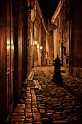 Stylized Art - Old city street in the night by Gynt