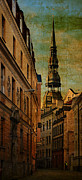 Tower Digital Art Originals - Old city street - stylized to old image by Gynt