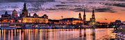 City Buildings Pyrography Posters - Old city Sunset Panorama Poster by Steffen Gierok