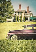 1951 Mercury Sedan In Front Of Large Mansion Print by Edward Fielding