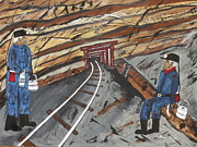 Miners Paintings - Old Coalminers by Jeffrey Koss