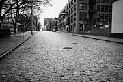 Victory Photo Framed Prints - old cobblestoned street at victory square park west hastings BC Canada Framed Print by Joe Fox