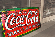 Coca Cola.coke-a-cola Prints - Old Coca Cola Sign Print by Julie Magers Soulen
