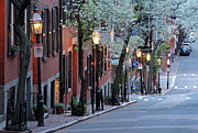 Cherry Blossom Framed Prints - Old Colonial Brick Row Houses of Beacon Hill Framed Print by Juergen Roth