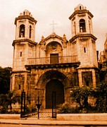 Antiquated Prints - Old Colonial Church in Varadero Cuba Print by John Malone