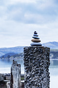 Ruin Photos - Old Concrete Jetty Posts Governors Bay Banks Peninsula New Zealand by Colin and Linda McKie