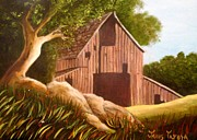 Tree Roots Painting Posters - Old Country Barn Poster by Janis  Tafoya