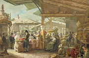 Crowd Scene Paintings - Old Covent Garden Market by George the Elder Scharf