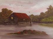 Covered Bridge Painting Metal Prints - Old Covered Bridge Metal Print by Cynthia Adams