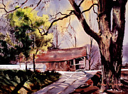 Covered Bridge Paintings - Old Covered Bridge by Marc Wildman
