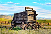 Horse And Cart Posters - Old Covered Wagon Poster by Athena Mckinzie