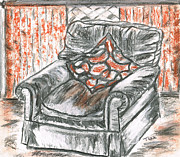 Cushion Pastels Prints - Old Cozy Chair Print by Teresa White