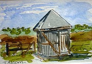 Shed Painting Framed Prints - Old Cream Shed - original SOLD Framed Print by Therese Alcorn