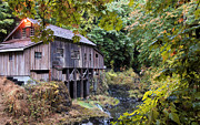 Athena Mckinzie Art - Old Creek Grist Mill In Autumn by Athena Mckinzie