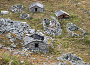 Abandoned Houses Prints - Old decayed and abandoned stone houses Print by Matthias Hauser
