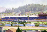 Horse Racing Painting Prints - Old Del Mar Race Track Print by Mary Helmreich