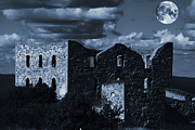 Castle Ruin Prints - Old Derelict Castle Ruin With Giant Full Moon Print by Christian Lagereek
