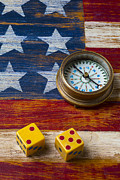Wooden Metal Prints - Old dice and compass Metal Print by Garry Gay