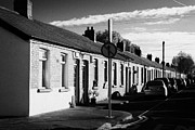Brick Buildings Framed Prints - Old Dock Workers Cottages South Dock Street Dublin Republic Of Ireland Framed Print by Joe Fox