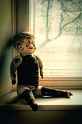 Abused Framed Prints - Old Doll on Windowsill Framed Print by Jill Battaglia