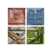 Painted Details Photo Framed Prints - Old Door Panels Framed Print by Art Block Collections