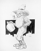 Pen  Prints - Old Drunk Farmer with Moonshine Jug Print by Jsp