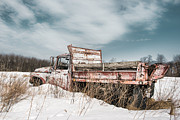 Winter Scenes Photos - Old dump truck - winter landscape by Gary Heller
