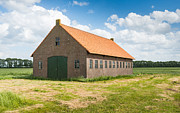 Old Dutch Barn Of Brick Masonry With An Orange Tile Roof Print by Ruud Morijn