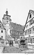 Horse And Buggy Drawings Framed Prints - Old European town - b/w Framed Print by Sonny Perschbacher