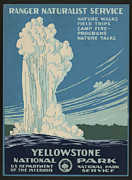 Naturalist Digital Art Posters - Old Faithful At Yellowstone Poster by Unknown