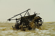 Ranches Prints - Old Farm Equipment Northwest North Dakota Print by Jeff  Swan