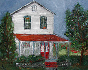 Red School House Painting Framed Prints - Old Farm House Framed Print by Anna Ruzsan