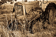 Rusty Tractor Tires Acrylic Prints - Old Farm Tractor in Sepia 1 Acrylic Print by Douglas Barnett