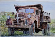 Rusty Truck Paintings - Old Farm Truck by Anthony Butera