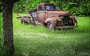 White Truck Framed Prints - Old Farm Truck Framed Print by Edward Fielding